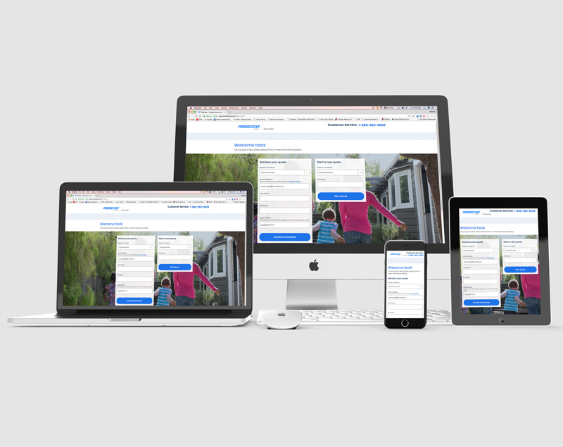 Homesite Insurance Progressive Insurance Retrieve Page Desktop and Mobile