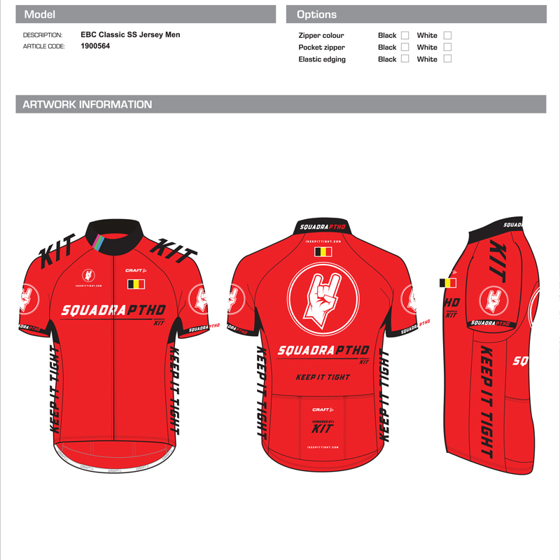 SquadraPTHD - Keep It Tight Cycling Team Illustrator Template Jersey